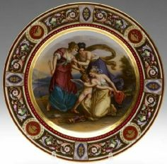 Royal Vienna Hand Painted Porcelain Cabinet Plate depicting a classical scene signed Knoeller Purple Wedding Cakes, Wedding Cakes With Flowers, Flower Cakes, Gold Wedding, Ceramic Plates, Decorative Plates, Circle Borders, Hand Painted Cakes, Portrait Pictures