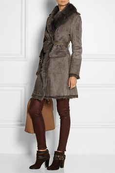 Burberry London | Leather-trimmed shearling coat | NET-A-PORTER.COM