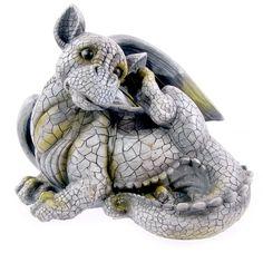 Drachen Gartenfigur liegend Ohr kratzend FIGUR Drachenbaby 25cm DRACHE Neuware