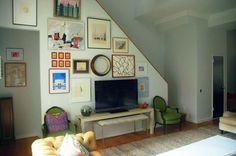 I really like this arrangement!  Minimizes the TV and the chairs are great for extra seating!