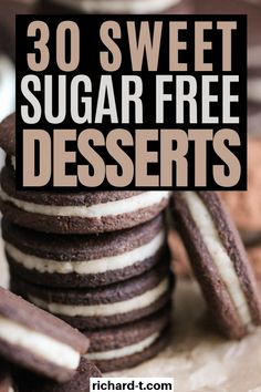 30 Easy Sugar Free Desserts You Wish You Made Sooner 30 Easy sugar free desserts that taste sweet and delicious! These sugar FREE desserts are so amazing, you need to try them all! Sugar Free Deserts, Sugar Free Cookies, Sugar Free Recipes, Diabetic Friendly Desserts, Low Carb Desserts, Dessert Recipes, Easy Diabetic Recipes, Desserts For Diabetics, Diabetic Foods