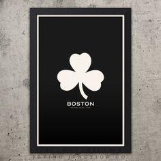 Boston Minimalist City Poster - Ivory