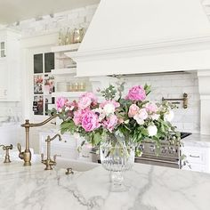 Woke up to a clean kitchen and the most beautiful arrangement of pink peonies this morning. Thank you @drewparcell!!!!  Happy Mother's Day to all you amazing mama's out there!! There is no greater or divine calling and I'm so grateful to be a mother.