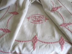 Stunning Art Deco French Pure Linen Sheet With Pink Hand Embroidery & VS or SV Monogram Priced €130 www.fatiguedfrenchfinds.com