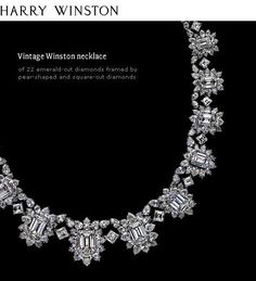 Harry Winston | Vintage Winston necklace | 22 emerald-cut diamonds framed by pear-shaped and square-cut diamonds