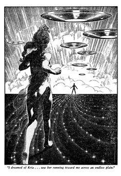 "Science Stories No. 2, December 1953: Virgil Finlay illustration for John Bloodstone's ""Potential Zero"""