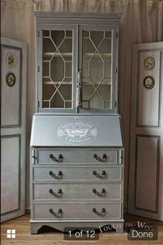 Grey and cream bureau with display