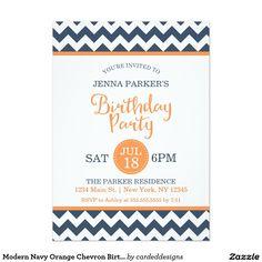 Modern Navy Orange Chevron Birthday Party 5x7 Paper Invitation Card