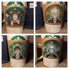 Recycled Starbucks Coffee Sleeve Sets That Feature Colored Pencil Drawings of All 12 Iterations of 'Doctor Who'