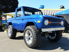 blue vintage Ford Bronco