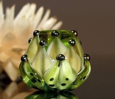 green and amber water lily bead  handmade glass by CorneliaLentze, $24.00