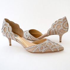 Badgley Mischka Ginny, available in Latte & Ivory. Sparkling low heels in a D'Orsay style that are perfect for those seeking fabulous style on a lower heel.