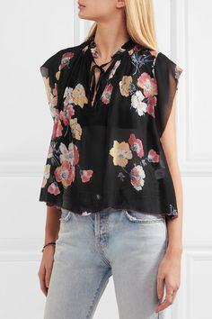 ULLA JOHNSON Saadi floral-print silk-georgette blouse Multicolored silk-georgette Slips on silk Dry clean Floral Tops, Floral Prints, Ulla Johnson, Black Blouse, Flutter Sleeve, Floral Watercolor, Silk, Shirts, Collection