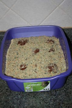 Litter Box cake that my daughter and I made for her 13th birthday. It was SO good.  Here is the recipe:   . It is actually really yummy but rich! It has double chocolate cake layers with chocolate pudding in the middle, cool whip on top, crushed golden Oreos with food coloring and Hersey kisses.