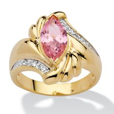 The spectacular, marquise-cut 2 carat pink ice cubic zirconia is an eye-catching centerpiece for this ring.