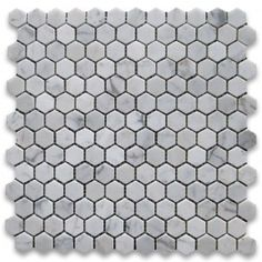 $8.79 a sheet @ stonecenteronline  Carrara White 1 inch Hexagon Mosaic Tile Polished