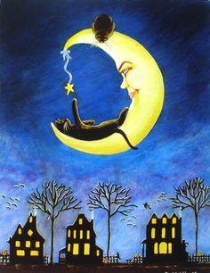 """""""En la #horabruja invernal sólo los gatos se atreven a jugar con las estrellas ¡Buenas noches!"""""""