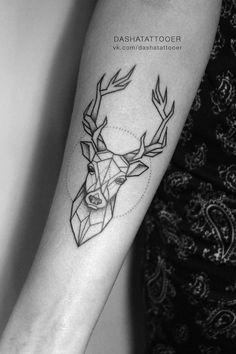 Classy Tattoos, Dope Tattoos, Tattoos For Guys, Small Tattoos, Girl Thigh Tattoos, Baby Tattoos, Stag Tattoo Design, Tattoo Designs, Geometric Tattoo Deer