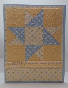 handmade greeting card by Bonnie Emmons ... star quild block desing .. star flower embossing folder for texture ... blue, yellow, white ... sweet prints, crochet ribbon and pearls ... sunny look ... great card ...