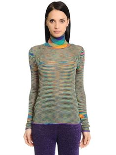 MISSONI - TURTLENECK KALEIDOSCOPE RIB KNIT SWEATER - KNITWEAR - MULTICOLOR - LUISAVIAROMA - Turtleneck. Rolled cuffs and hem edges. All over pattern placement may vary . Sample size: 40