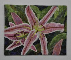 Pink Lilies by Sarah Ann Smith.  Art quilt, 2015 Houston International Quilt Festival.