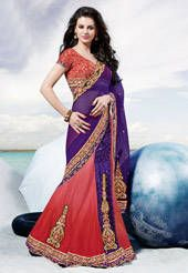 Purple and Light Red Net and Velvet Lehenga Style Saree with Blouse