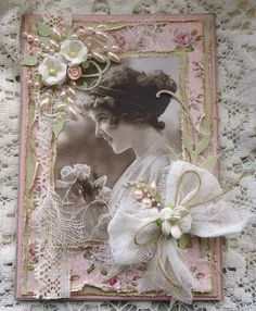 Beautifully framed heritage portrait page with flower embellished cheesecloth bow that accents the photo.