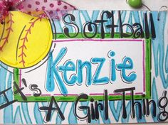 Hand+personalized+girls+softball+name+room+sign+by+pinkfishstudios,+$12.95