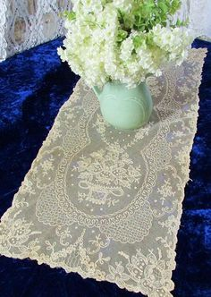 """Pretty Antique Tambour Embroidered on French Net Table Runner 33"""" x 13 1/2""""  Vintageblessings"""