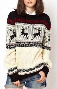 Black Round Neck Deer Pattern Fairisle Sweater