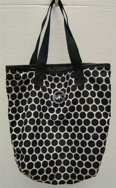 MICHAEL KORS BLACK MSRP  68 WHITE POLKA DOT KIKI SHOPPER SHOULDER TOTE  HANDBAG  MichaelKors  ShoulderBag 5093ce63e24e8