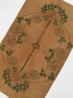 Antique Liberty & Co textile panel Art Nouveau early 20th | Etsy Hessian Fabric, Textiles, Art Nouveau Design, 1920s Art Deco, Liberty Fabric, Panel Art, Fabric Panels, Shades Of Green, Vintage Antiques