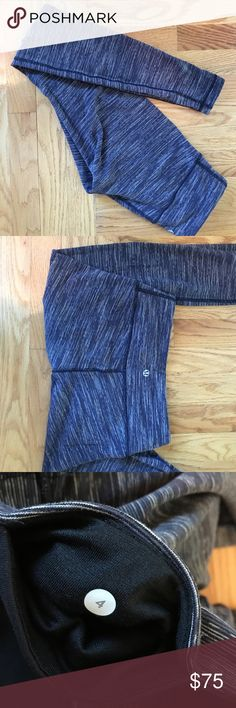 Wunder Unders full-length Luon tights EUC, size 4. Wee Are From Space-dye Black Cashew (appears bluish in photos, but it's closer to gray). Medium rise; 30.5 inseam. Only hand-washed and air-dried. Luon. lululemon athletica Pants Leggings