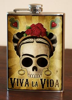 Viva La Vida Stainless Steel Flask 8oz. - Glassware | RebelsMarket