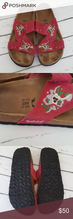 Birkenstock pink leather Betula sandals EUC Lots of wear left. My feet are just too narrow for birkenstock. Shoe is stamped size 39 which according to birkenstock shoe chart fits 8- 8.5 Birkenstock Shoes Sandals