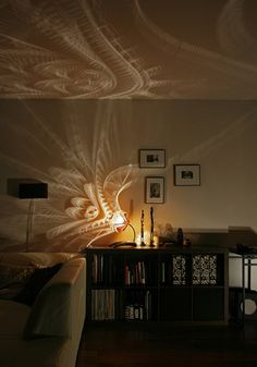 Light/Shadow pattern created by a small lighting fixture.