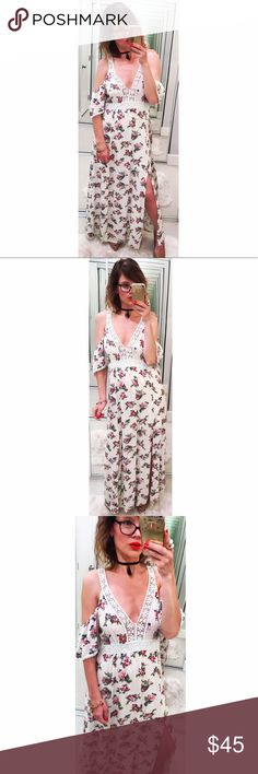 ➡Flying Tomato Cold Shoulder Floral Maxi Dress⬅ An ethereal floral maxi with open shoulders, crochet trim, keyhole back opening and side slits.  💕Offers welcome. Take 30% off your entire purchase automatically at checkout when you use the bundle feature, or make an offer for your bundle. Happy Poshing!💕 Flying Tomato Dresses Maxi