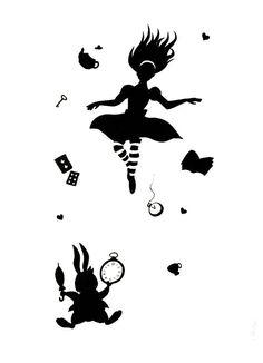 Alice in wonderland falling silhouette Alice im Wunderland fallen Silhouette Alicia Wonderland, Alice In Wonderland Rabbit, Alice And Wonderland Tattoos, Alice Rabbit, Alice In Wonderland Artwork, Machine Silhouette Portrait, Alice In Wonderland Silhouette, Mad Hatter Tea, Rabbit Hole