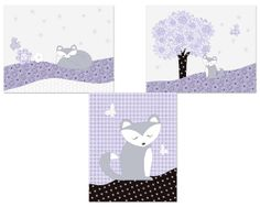 Gray and Purple Girl's Room Art  by MandysLovableDesigns on Etsy, $30.00