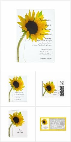 Chic Sunflower WEDDING SET COLLECTION on White Pretty Personalized Wedding Stationery Invites Announcements Invitations Postage Stamps RSVP Thank You Cards & More!