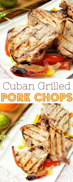 French Delicacies Essentials - Some Uncomplicated Strategies For Newbies Easy Cuban Grilled Pork Chops, Delicious Marinated Pork Chops Cooked On The Grill With Lots Of Peppers And Onions Ad Smithfieldbrand Walmart Pork Chop Recipes, Cuban Recipes, Grilling Recipes, Meat Recipes, Cooking Recipes, Healthy Recipes, Marinated Pork Chops, Bacon, Chicken