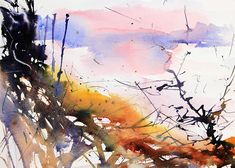 Winter Field Corner at Styal. Expressive watercolour abstract landscape by Adrian Homersham