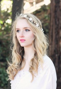 Items similar to Bridal flower crown, ivory vintage milinery flower head piece, wedding wreath, ivory headpiece, rustic woodland hair band -Forget me not on Etsy Flower Crown Bride, Bride Flowers, Flowers In Hair, Flower Crowns, Flower Headpiece, Headpiece Wedding, Bridal Hair, Crown Hairstyles, Bride Hairstyles