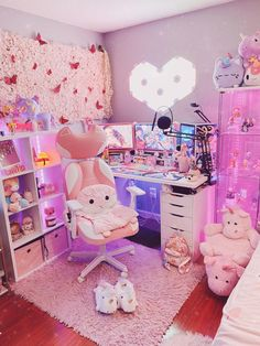 Cute Room Ideas, Cute Room Decor, Gaming Room Setup, Gaming Rooms, Pc Setup, Kawaii Bedroom, Game Room Design, Gamer Room, Aesthetic Room Decor