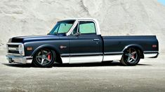 """This pro touring Chevrolet was custom built by the Roadster Shop in Mundelein, Illinois for the """"Craftsman Tools Restoration Rollout"""" promotional program, and was later auctioned off via Barrett-Jackson. 1969 Chevrolet Restomod Specifications [More. Chevy C10, 67 72 Chevy Truck, Custom Chevy Trucks, C10 Trucks, Chevy Pickup Trucks, Classic Chevy Trucks, Chevy Pickups, Chevrolet Trucks, Lowered Trucks"""