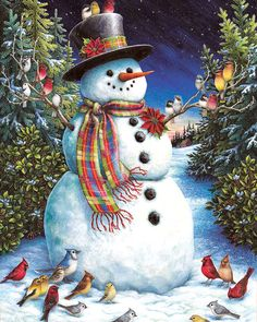 """This image by Lynn Bywaters is a must-have for everyone who loves snowmen! Ms. Bywaters is a leading illustrator of children's books and greeting cards who works from her home studio in Glastonbury, CT. A Best Selling 2004 Summer/Fall Collection puzzle. ¬ Lynn Bywaters. 1000 Pieces! Finished size 24"""" X 30""""."""