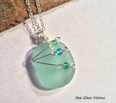 Sea Glass Jewelry Wire Wrapped Pendant Necklace Original