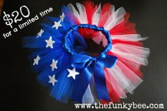 $20 -100% nylon tulle used to create this adorable Patriotic tutu!  Special pricing for a limited time only!  Visit  http://thefunkybee.com/item_241/Patriotic-Tutu.htm to order.