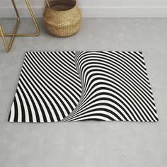 Black and White Pop Art Optical Illusion Lines Rug Art Optical, Optical Illusions, Black And White Carpet, Shell Drawing, Deco Blue, Gold Art, Art Deco Design, American Flag, Line Art