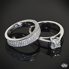 """Simply stunning this 0.851ct H VVS2 A Cut Above Princess Diamond is set in a platinum cathedral solitaire engagement ring  accompanied by a Custom platinum half eternity bead set wedding band holding approximately .45ctw A Cut Above Diamonds finished off with a beautiful heartfelt engraving """"for eternity""""."""